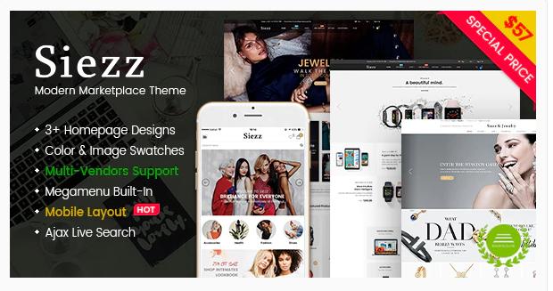 Siezz - Multi Vendor MarketPlace WooCommerce WordPress Theme (Mobile Layout Ready)