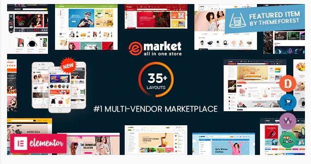 eMarket - Multi Vendor MarketPlaceElementorWordPress Theme (30+ Homepages & 3 Mobile Layouts)